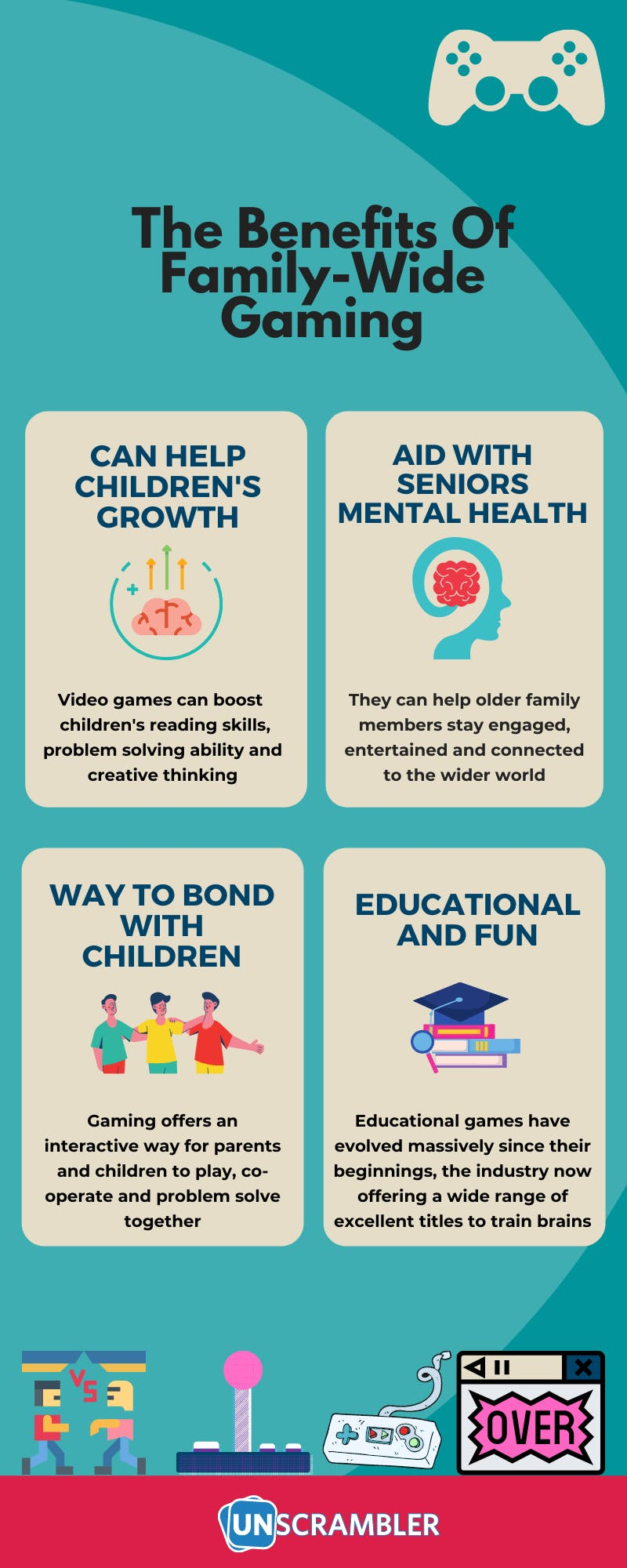 Benefits of playing family video games infographic